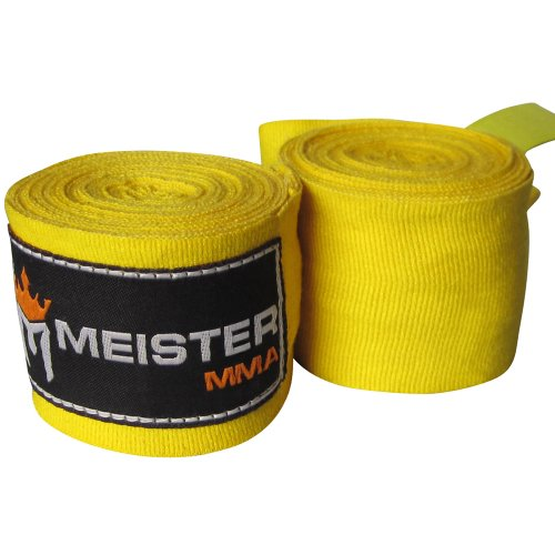"Meister Adult 180"" Semi-Elastic Hand Wraps for MMA & Boxing (Pair) - Yellow"