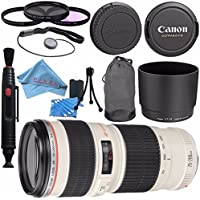 Canon EF 70-200mm f/4L USM Lens 2578A002 + 67mm 3pc Filter Kit + Lens Cleaning Kit + Lens Pen Cleaner + Fibercloth Bundle