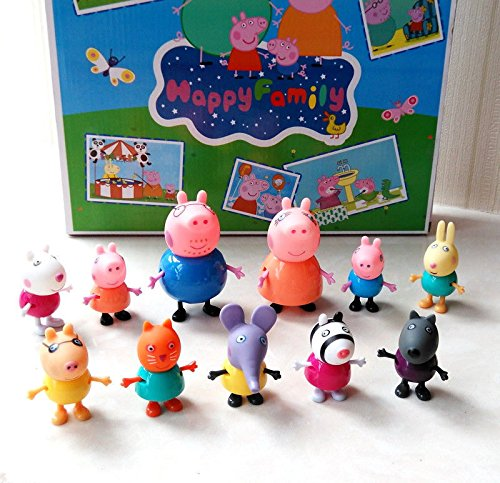 11pcs/Set Peppa Pig Family & Friends Petrol Emily Zoe Figure Toys 2016 Xmas Gift (Toddler Halloween Ideas)