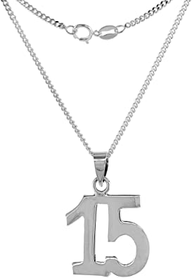 Sterling Silver Number 15 Necklace for Jersey Numbers /& Recovery High Polish 3//4 inch 2mm Curb Chain