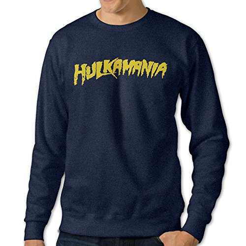 [101Dog Hulk Hogan Hulkamania Mens Crew Sweatshirt X-Large Navy] (Young Elvis Presley Costumes)