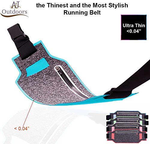 Ultra-thin Water Resistant Running Belt / Fannie Pack for Women and Men, Expandable Phone Belt to Hold Cell Phones, Cards, and Money. Ideal Waist Bag Waist Pack for Travel, Sports and Yoga (Blue)