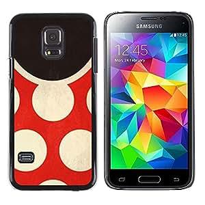 FECELL CITY // Duro Aluminio Pegatina PC Caso decorativo Funda Carcasa de Protección para Samsung Galaxy S5 Mini, SM-G800, NOT S5 REGULAR! // Polka Dot Red Vintage Fashion