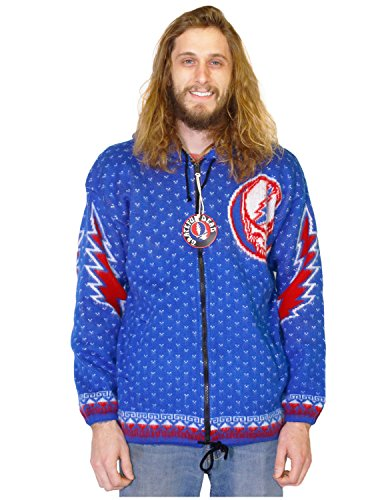 (Grateful Dead Alpaca Style Zip Up Hooded Sweater Jacket Steal Your Face Blue)