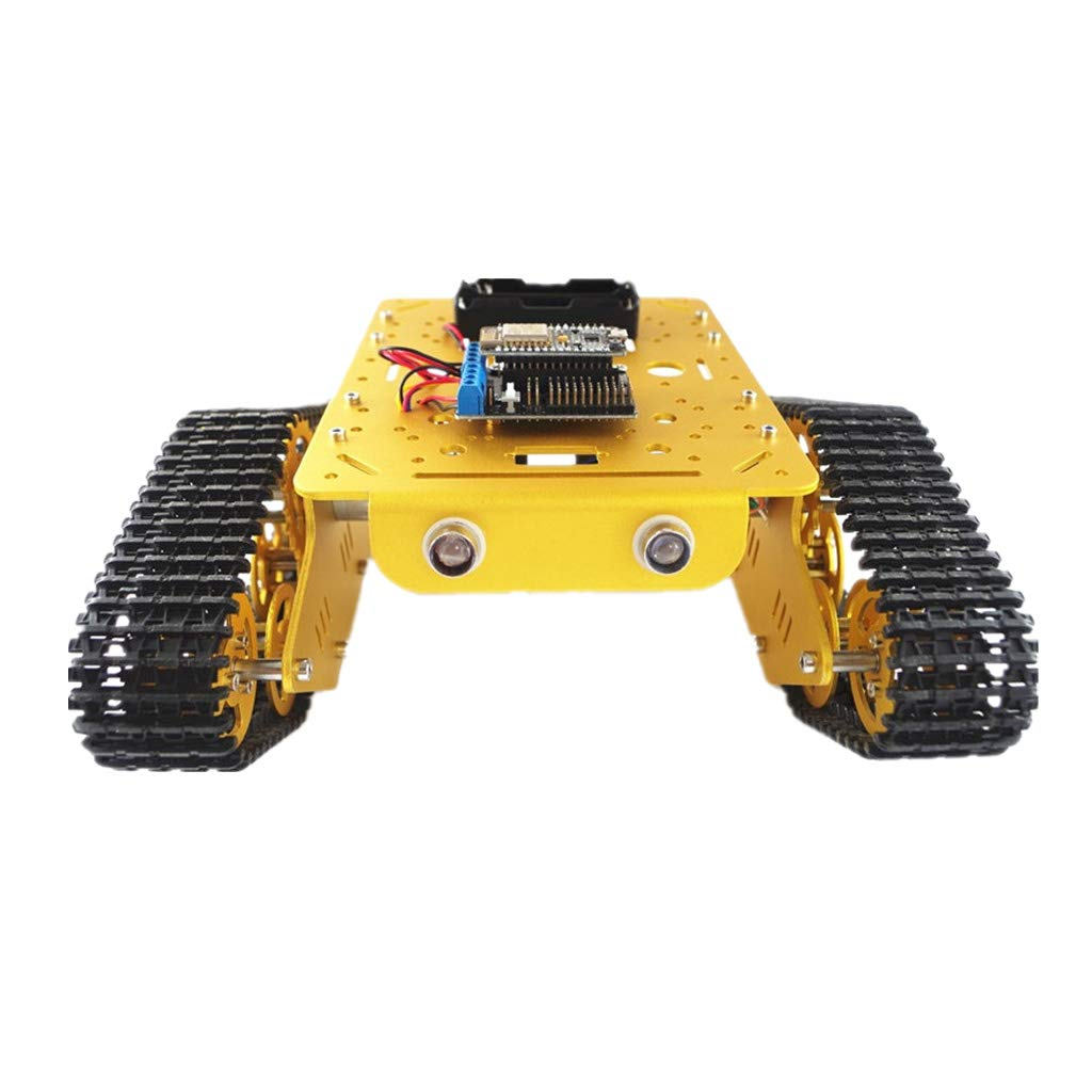 B Blesiya Kit Telaio RC Tank Car Chassis Robotico Controllato Metallo - Dorato