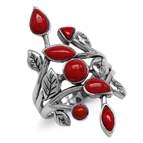(Created Red Coral 925 Sterling Silver Leaf Vintage Style Ring Size 12)