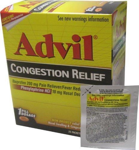 Advil Soulagement de la congestion, 25 paquets (sachets) de 1 comprimés enrobés