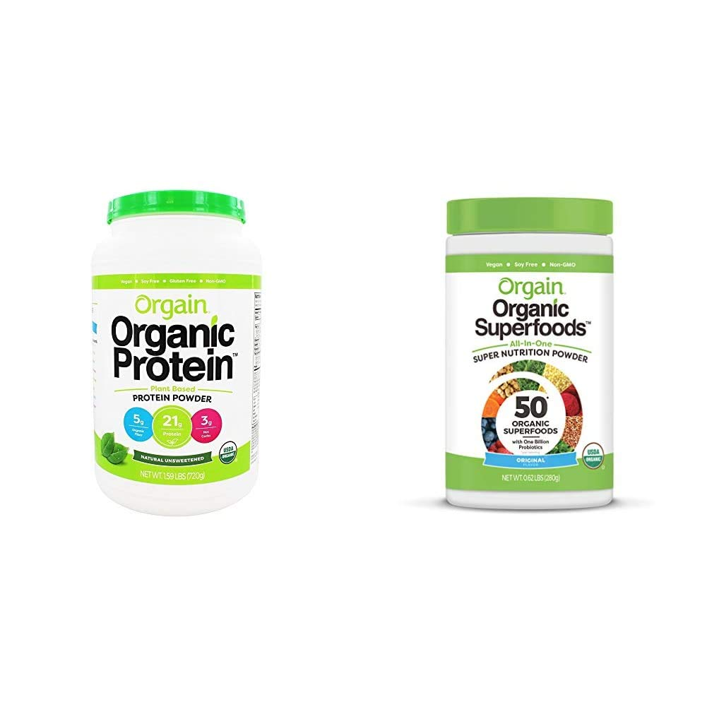 Orgain Organic Plant Based Protein Powder, Natural Unsweetened - Vegan, Low Net Carbs, 1.59 Pound & Organic Green Superfoods Powder, Original - Antioxidants, 1 Billion Probiotics, 0.62 Pound