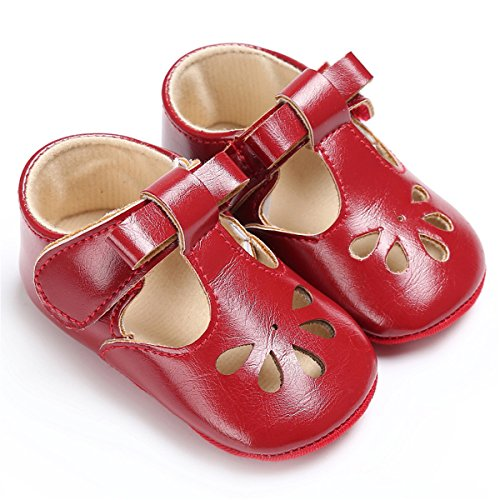 BENHERO Baby Girls Soft Sole Bowknot Mary Jane Princess Shoes (Infant) (6-12 Monthes/4.72inch, 1560 Wine red)