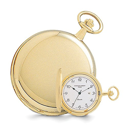Watch Pocket Gold 14k - Jewelry Best Seller Charles Hubert 14k Gold Finish White Dial with Date Pocket Watch