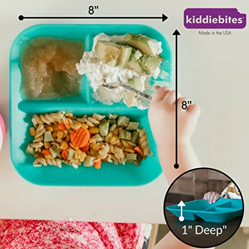 Made in the USA 100% Silicone Plates for Babies & Kids by Kiddiebites - 2-Pack BPA, BPS, PVC, phthalate, cadmium, and lead Free, FDA Approved Silicone, Divided Child's Placemat Set (Teal) by Kiddiebites (Image #4)
