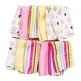 Spasilk Washcloths, Pink Stripes, 10 Count