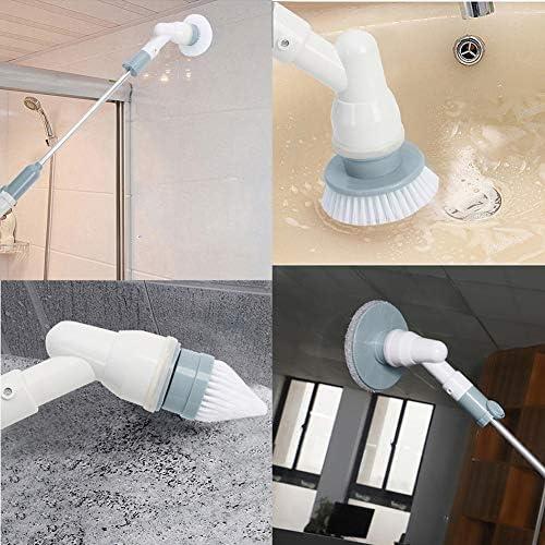 Spin Scrubber - Cepillo giratorio para limpieza eléctrica con 5 cepillos y 1 mango de extensión para cuarto de baño, azulejos, juntas de bañera, cocina, campana extractora, azulejos: Amazon.es: Hogar