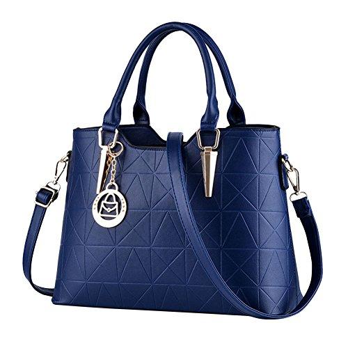 Damen Einfache Süße Reine Farbe Handtasche Leder Schultertasche Crossbody Tasche Schwarz Königsblau