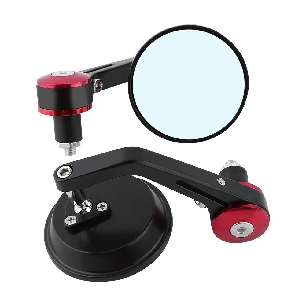 Red Cuque Motorcycle Rear View Mirror 1 Pair 7//8 Round Handle End Scooter Side View Mirror Universal Aluminum Modified Handle Mirror Black Gold Blue Red Tail for Motorbike Street Bikes Scooters