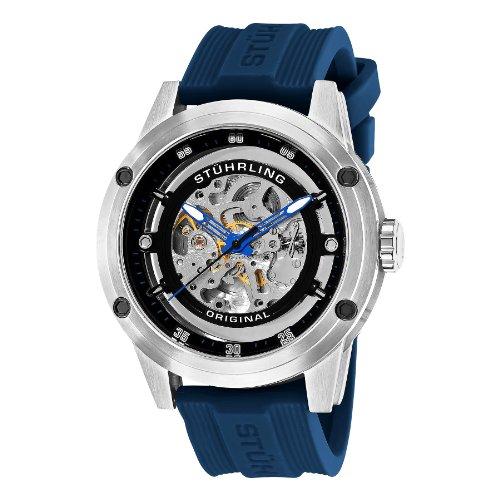 Stuhrling Original Men's 314R.3316C51 Leisure Zolara 360 Automatic Skeleton Blue Rubber Strap Watch