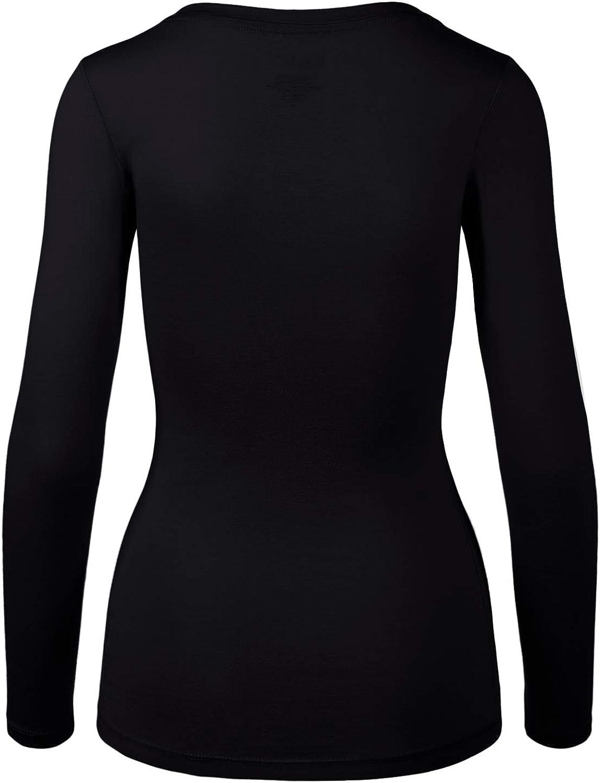 HATOPANTS Womens Basic Long Sleeve V Neck Tee Everyday Casual Shirts