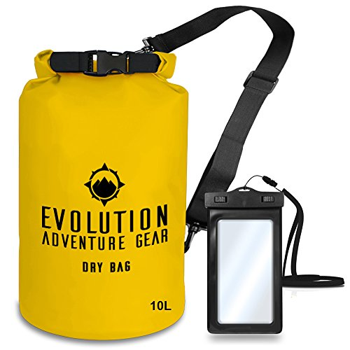 Professional Floating Waterproof Dry Bag – By Evolution Gear – Roll Top Compression Sack for Kayaking, Rafting, Boating, Hiking, Fishing, Camping, Outdoors – Waterproof Phone Case – 10L - Sunglasses Mountaineering Best
