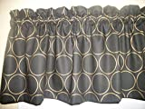 Black Gold Circle Hoop Round fabric window topper curtain Valance