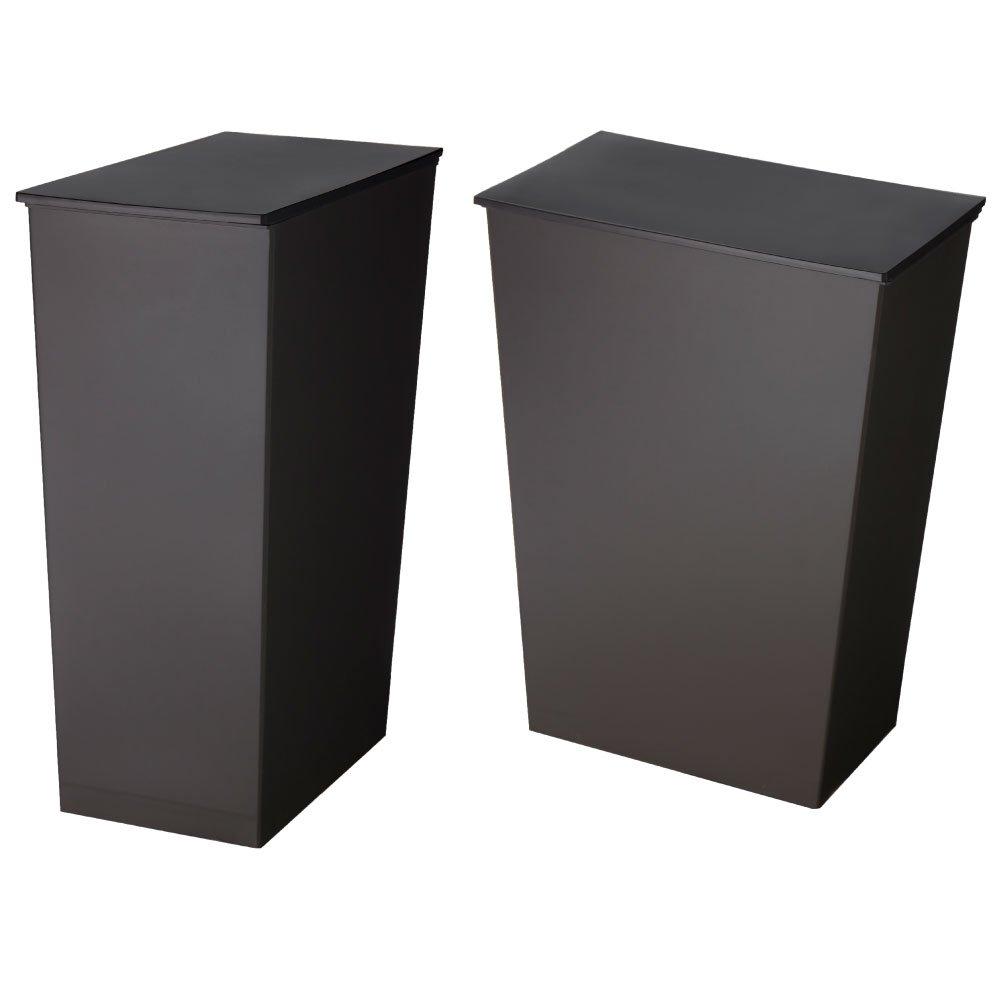 日本製ダストボックス kcud クード シンプル 2個セット スリム ワイド ゴミ箱 ごみ箱 (スリム ブラック×ワイド ブラック) B01LCDVADO スリム ブラック×ワイド ブラック スリム ブラック×ワイド ブラック