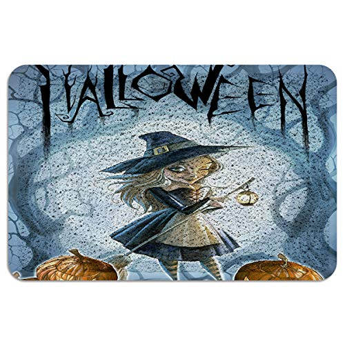 CHARMHOME Entrance Doormat Halloween Witches and Jack-O-Lanterns Indoor/Outdoor Doormat Rubber Shoes Scraper Non Slip Heavy Duty Front Entrance Door Mat Rug 24X35 Inch