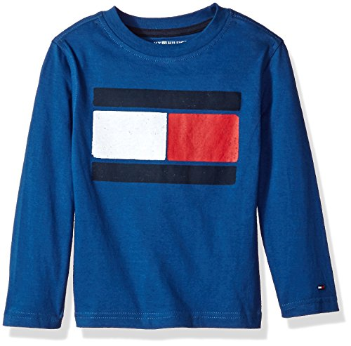 Tommy Hilfiger Big Boys' Long Sleeve Tee, Flag Industry Blue, (Blue Big Logo T-shirt)