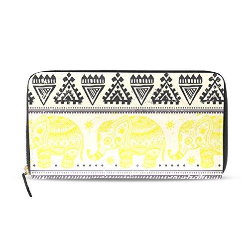 Womens Zipper Wallet Africa Art Elephant Clutch Purse Card Holder Bag by WIHVE