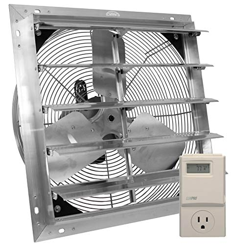 - VES Exhaust Fan, Shutter Fan, Box Fan, with 9 Foot Cord 3 Speed for Indoor or Outdoor Ventilation (16 Inches with Control)