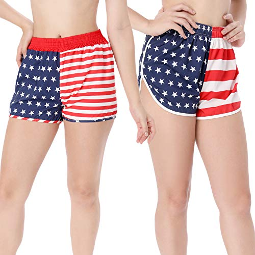 2 Pieces American USA Flag Printed Shorts Running Shorts Elastic Unisex for Men Women (S) ()