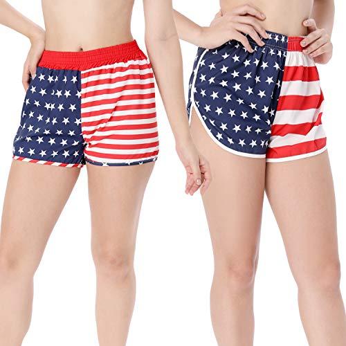 2 Pieces American USA Flag Printed Shorts Running Shorts Elastic Unisex for Men Women (M)