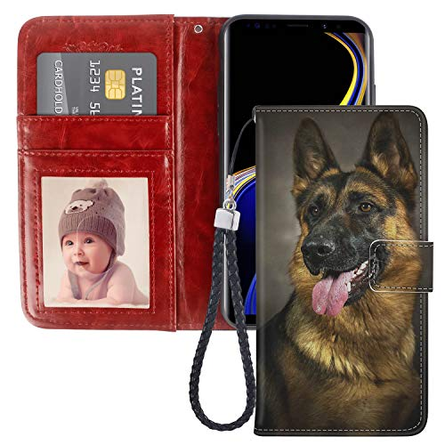 Samsung Galaxy Note 9 Wallet Case German Shepherd Dog Premium PU Leather Wallet with Viewing Stand and Card Slots, Folio Flip Cover and Wrist Strap ()