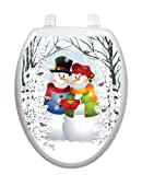 Snow Couple Christmas Toilet Tattoo TT-X629-O Elongated Winter Holiday