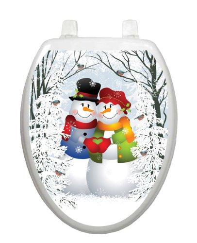 Snow Couple Christmas Toilet Tattoo TT-X629-O Elongated Winter Holiday Lena Fiore'