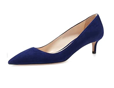 san francisco b1ec2 7e358 elashe Damen Sexy Kitten Heel Pumps |6.5cm Spitze Zehen Suede Stiletto |  Pointed Toe Dress Pumps Gr.35-45