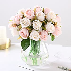 12PCS/Lots Artificial Rose Flowers Wedding Bouquet Royal Rose Silk Flowers For Home Decoration Wedding Party Decor 3
