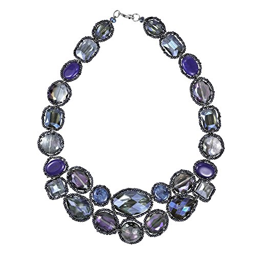 AeraVida Dazzling Garland Luscious Blue Crystals Statement Necklace