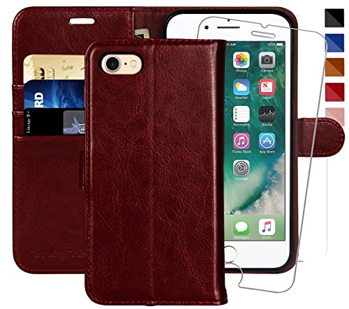 (iPhone 6 Wallet Case/iPhone 6s Wallet Case,4.7-inch, MONASAY [Glass Screen Protector Included] Flip Folio Leather Cell Phone Cover with Credit Card Holder for Apple iPhone 6/6S)