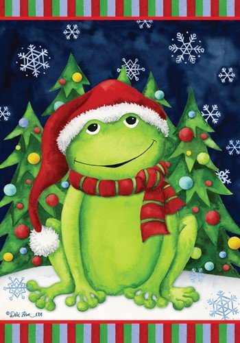 - Christmas Frog - Standard Size 28 Inch X 40 Inch Decorative Flag