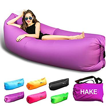 HAKE Outdoor Inflatable Hangout Portable Bag Lounger Nylon Fabric Suitable For Camping Beach Couch Sofa (Purple)