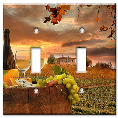 Art Plates 2 Gang Toggle Wall Plate - Wine by an Italian Winery ()
