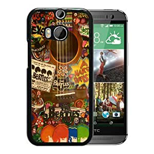 Featured Desin The Beatles Hippie Guitar Black HTC ONE M8 Phone Cover Case