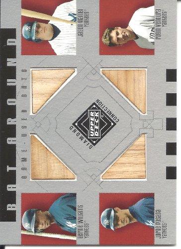 (Bernie Williams & Jason Giambi & Jorge Posada & Robin Ventura 2002 Upper Deck Diamond Connection Bat Around Quad Bat Card #WGPV)