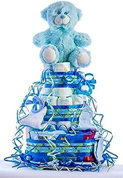 Flores AVRIL ofrece: tarta de pañales para bebé niño. Un regalo original para el bebé recién nacido, incluyendo 30 pañales de la marca DODOT más peluche más calcetín más toallas DODOT más toalla facia