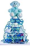 Tarta de pañales para bebé recién nacido. Un regalo original, incluyendo 30 pañales de la marca DODOT más peluche más…