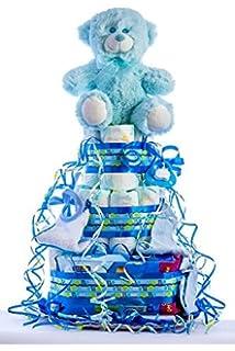 Tarta de pañales DODOT. Un regalo original para el bebé recién nacido incluyendo peluche,