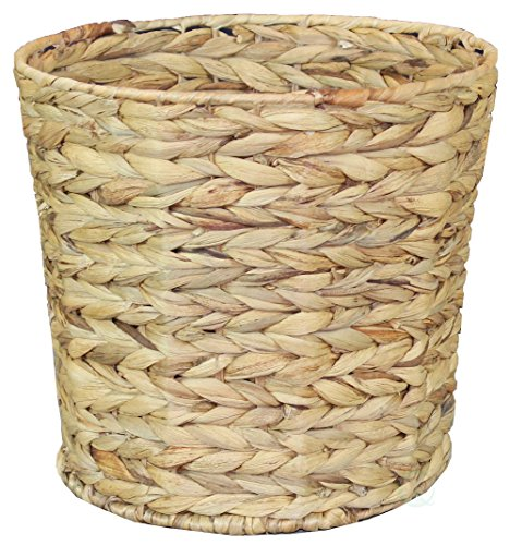 (Natural Water Hyacinth Round Waste Basket - for Bathrooms, Bedrooms, or)