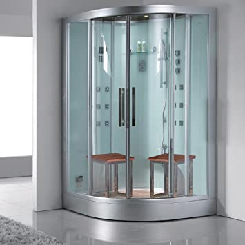 Ariel Platinum DZ962F8 W Steam Shower In White With A 6 Kilowatt Steam  Generator,