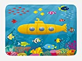 kids bathroom ideas Ambesonne Yellow Submarine Bath Mat, Coral Reef with Colorful Fish Ocean Life Marine Creatures Tropic Kid, Plush Bathroom Decor Mat with Non Slip Backing, 29.5 W X 17.5 L Inches, Blue Yellow Pink