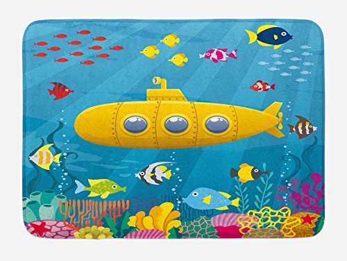 Ambesonne Yellow Submarine Bath Mat, Coral Reef with Colorful Fish Ocean Life Marine Creatures Tropic Kid, Plush Bathroom Decor Mat with Non Slip Backing, 29.5