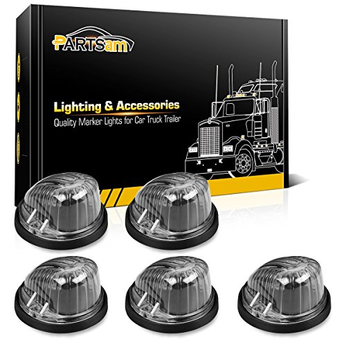 Partsam 5X Roof Light Round Cab Marker Clear Lens Covers 1313C + 5X Cab Marker Bases Compatible with Chevrolet/GMC C1500 C2500 C3500 C4500/Suburban Blazer 1973-1987 Full Size Pickup Truck
